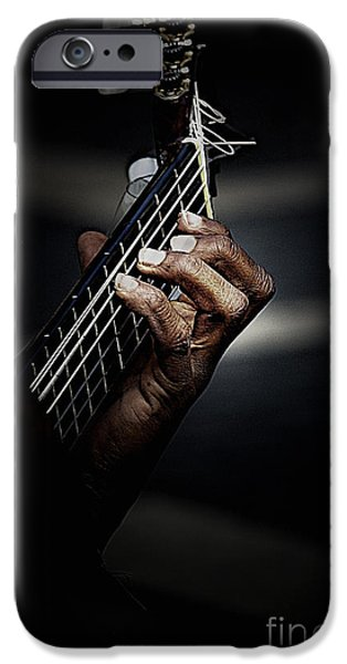 Guitar iPhone Cases - Hand of guitarist iPhone Case by Sheila Smart