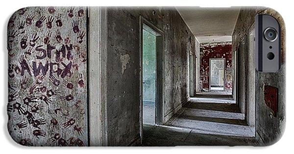 Haunted House iPhone Cases - Hand Prints On The Door Of Old Abandoned School Building iPhone Case by Dirk Ercken
