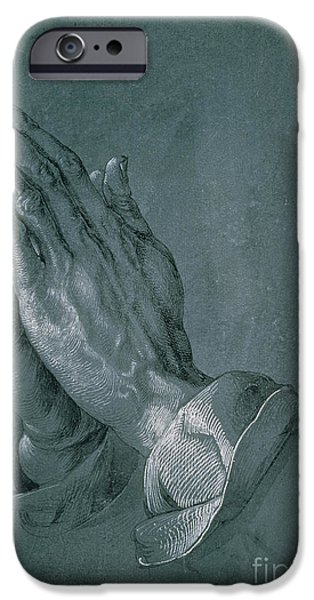 Thought Drawings iPhone Cases - Hands of an Apostle iPhone Case by Albrecht Durer