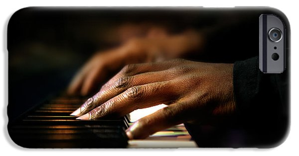 Profile iPhone Cases - Hands playing piano close-up iPhone Case by Johan Swanepoel