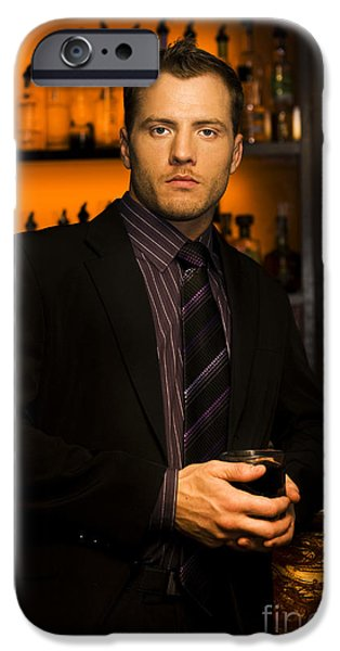 Cradling iPhone Cases - Handsome Young Man At Nightclub Bar iPhone Case by Ryan Jorgensen