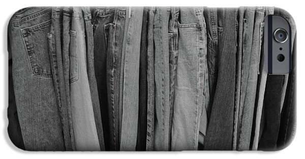 Black And White Reliefs iPhone Cases - Hanging Jeans iPhone Case by WaLdEmAr BoRrErO