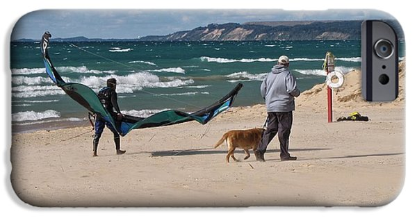 Kite Boarding iPhone Cases - Hanging with Dad in Pentwater iPhone Case by Jane Greiner