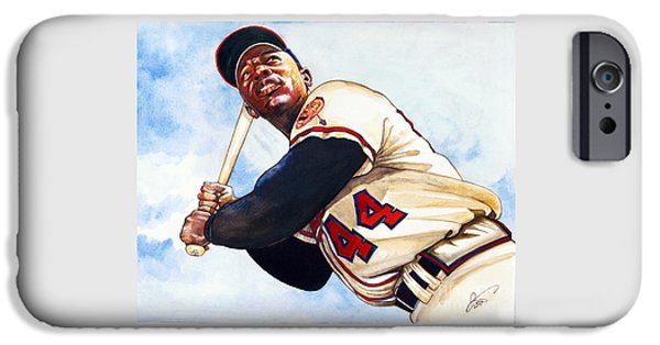 Aaron Drawings iPhone Cases - Hank Aaron iPhone Case by Dave Olsen