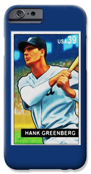 Baseball Uniform Paintings iPhone Cases - Hank Greenberg iPhone Case by Lanjee Chee