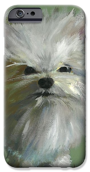 Cute Puppy iPhone Cases - Happiness is... Waffles iPhone Case by Alyson Kinkade