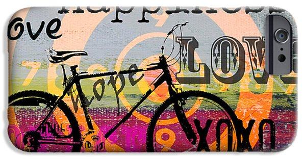 Shower Curtain iPhone Cases - BOHO Happy Bicycle Love iPhone Case by ArtyZen Studios - ArtyZen Home