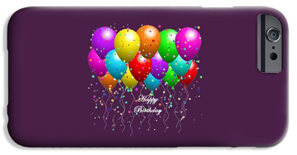 Party Birthday Party iPhone Cases - Happy Birthday Balloons iPhone Case by Debra  Miller