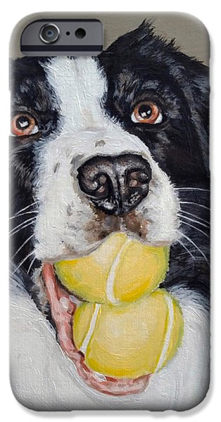 Recently Sold -  - Dog With Tennis Ball iPhone Cases - Happy Border Collie iPhone Case by Pamela Post