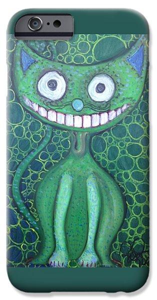 Alice In Wonderland iPhone Cases - Happy Cat iPhone Case by Regina Jeffers