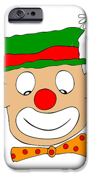 Joyful Drawings iPhone Cases - Happy Clown iPhone Case by Michal Boubin