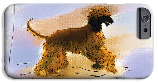 Afghan Hound Watercolor iPhone Cases - Happy Dance iPhone Case by Diane Chandler