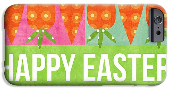 Signed Mixed Media iPhone Cases - Happy Easter iPhone Case by Linda Woods