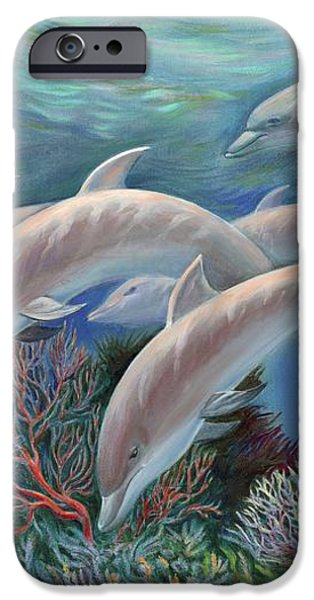 Happy Family - Dolphins Are Awesome iPhone Case by Svitozar Nenyuk