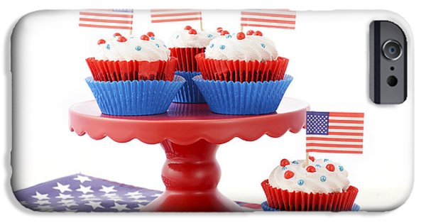 American Independance iPhone Cases - Happy Fourth of July Cupcakes on Red Stand iPhone Case by Milleflore Images