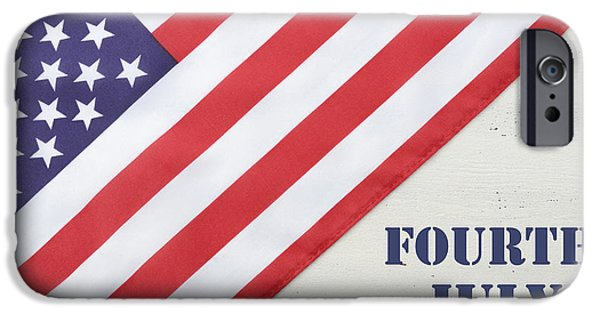 Independance Day Photographs iPhone Cases - Happy Fourth of July USA Flag on White Wood Table iPhone Case by Milleflore Images