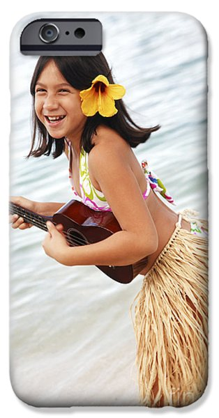 Youthful iPhone Cases - Happy Girl with Ukulele iPhone Case by Brandon Tabiolo - Printscapes