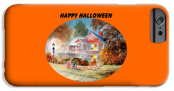 Haunted House iPhone Cases - Happy Halloween iPhone Case by Bill Holkham