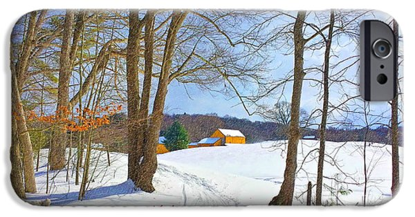 Christmas Greeting iPhone Cases - Happy Holiday Farm Greeting Card iPhone Case by Marcel  J Goetz  Sr