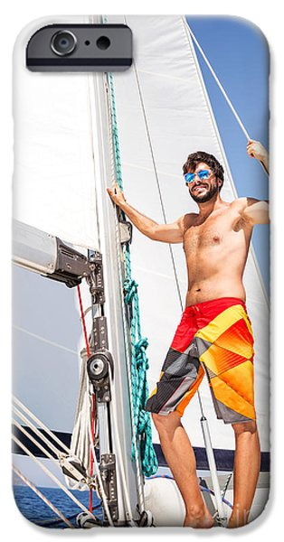 Sailboat Ocean iPhone Cases - Happy man on sailboat iPhone Case by Anna Omelchenko