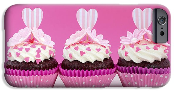 Fairy Hearts Pink Flower iPhone Cases - Pink and white cupcakes. iPhone Case by Milleflore Images