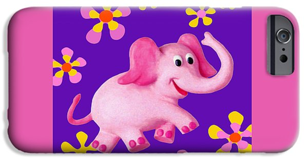 Elephant iPhone Cases - Happy Pink Elephant iPhone Case by Amy Vangsgard
