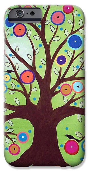 Crows Paintings iPhone Cases - Happy Tree iPhone Case by Karla Gerard