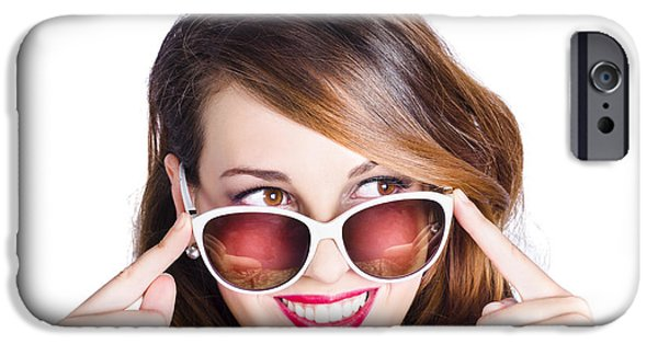 Youthful iPhone Cases - Happy woman in fashionable eyewear iPhone Case by Ryan Jorgensen
