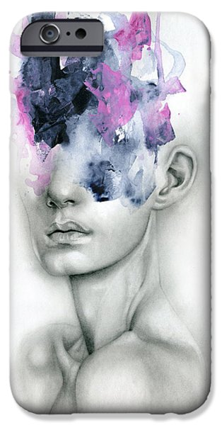 Female Drawings iPhone Cases - Harbinger iPhone Case by Patricia Ariel