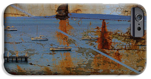 Abstract Seascape Pyrography iPhone Cases - Harbor 3 iPhone Case by Anna Shutt