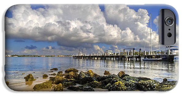 Sunset At The Lake iPhone Cases - Harbor Clouds at Boynton Beach Inlet iPhone Case by Debra and Dave Vanderlaan
