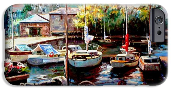 Sailboats In Harbor iPhone Cases - Harbor Sailboats at Rest iPhone Case by Ronald Chambers