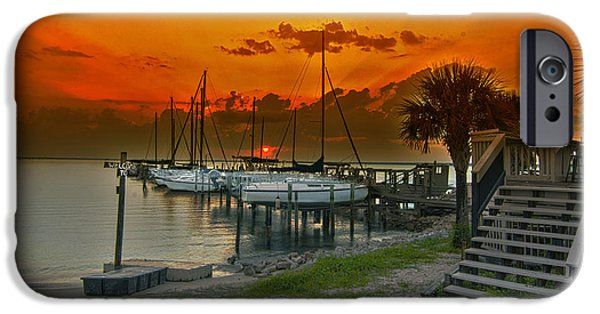Transportation Tapestries - Textiles iPhone Cases - Harbor sunset  iPhone Case by James Hennis