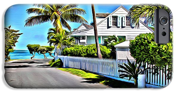 Bamboo Fence iPhone Cases - Harbour Island Street iPhone Case by Anthony C Chen
