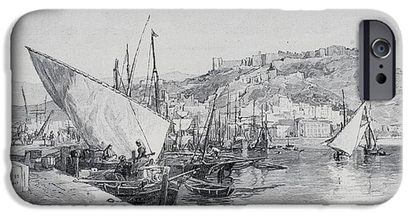 Malaga iPhone Cases - Harbour, Malaga, Spain, By Edward T iPhone Case by Ken Welsh