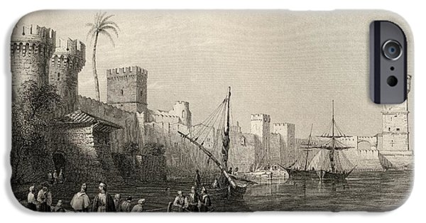 Mandraki iPhone Cases - Harbour Of Rhodes, Greece. Engraved By iPhone Case by Ken Welsh