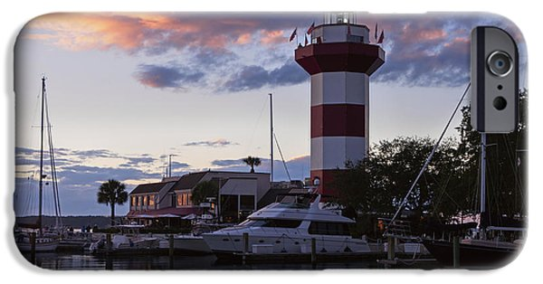 Head Harbour Lighthouse iPhone Cases - Harbour Town at sunset Hilton Head Island iPhone Case by Louise Heusinkveld
