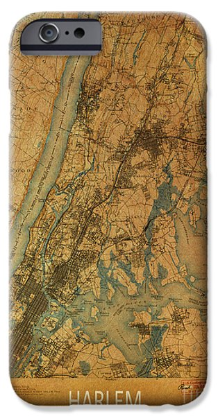 Harlem iPhone Cases - Harlem, New York, 1900 Map iPhone Case by Pablo Franchi