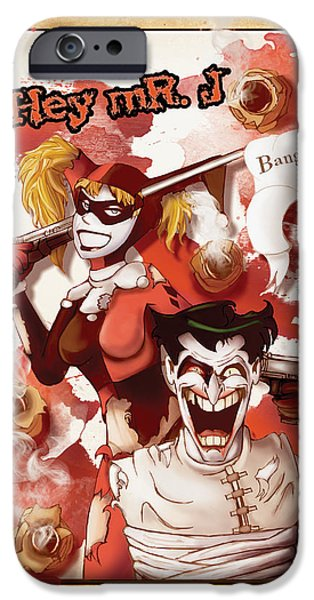Justice League iPhone Cases - Harley And Joker iPhone Case by Christopher Wolf