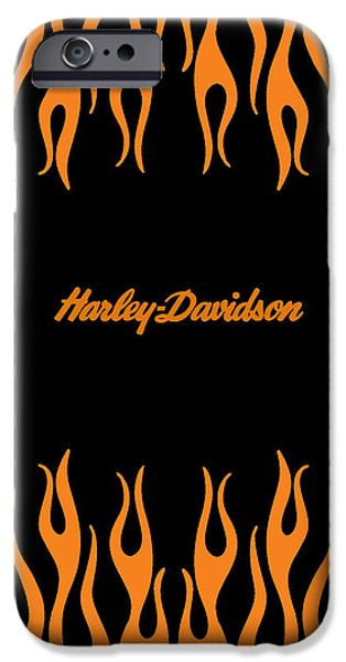 Phone iPhone Cases - Harley-Davidson Flames Phone Case iPhone Case by Mark Rogan