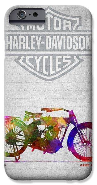 Old Digital iPhone Cases - Harley Davidson Model 10B 1914- Golor iPhone Case by Aged Pixel