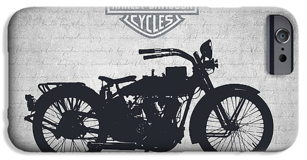 Old Digital Art iPhone Cases - Harley Davidson Model J 1921 - Gray iPhone Case by Aged Pixel