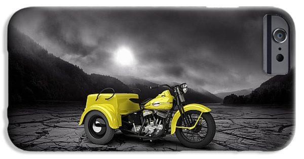 Mountain Valley iPhone Cases - Harley Davidson Service Car 1942 Mountains iPhone Case by Aged Pixel
