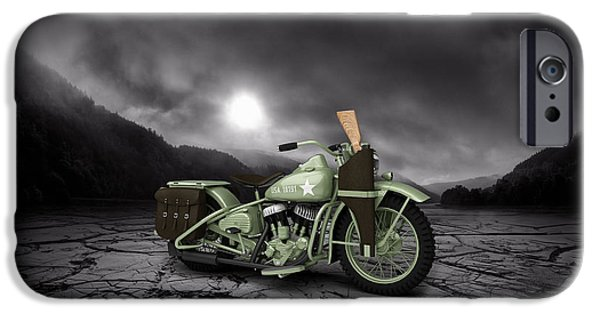 Mountain Valley iPhone Cases - Harley Davidson WLA 1942 Mountains iPhone Case by Aged Pixel