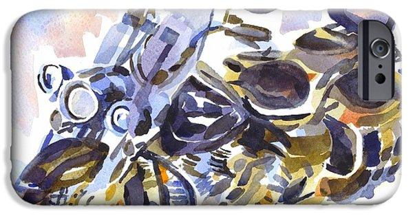 Mechanics Paintings iPhone Cases - Motorcycle in Watercolor iPhone Case by Kip DeVore