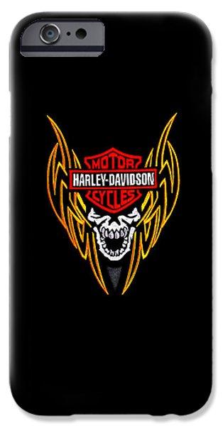 Harley Davidson Photographs iPhone Cases - Harley Skull Phone Case iPhone Case by Mark Rogan