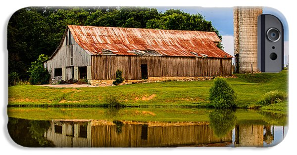 Historic Franklin Tennessee iPhone Cases - Harlinsdale Barn Reflection iPhone Case by Jim Diamond