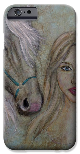 Spiritual Portrait Of Woman iPhone Cases - Harmony iPhone Case by The Art With A Heart By Charlotte Phillips