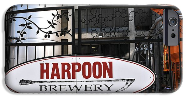 Boston Ma iPhone Cases - Harpoon Brewery Sign on Gate iPhone Case by Mike Martin