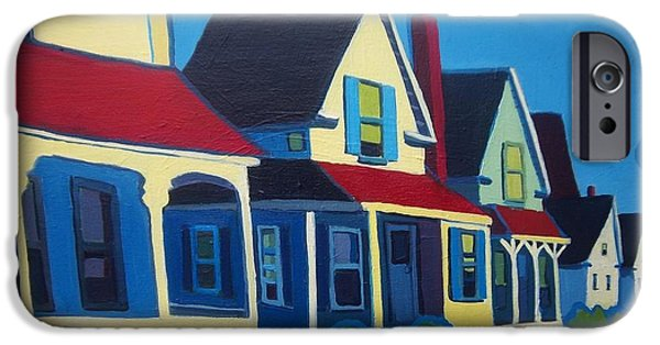 Maine Roads Paintings iPhone Cases - Harpswell Cottages iPhone Case by Debra Bretton Robinson